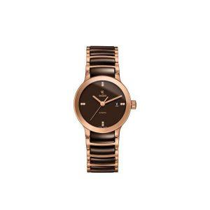 Dames horloge uit de Rado Centrix collection - uitgevoerd in bicolour kast en band van bruin keramiek en rose/PVD - voorzien van een automatisch uurwerk - De Rado collectie is verkrijgbaar bij Sparnaaij Juweliers in Aalsmeer