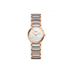 Dames horloge uit de Rado Centrix collection - uitgevoerd in staal met Rose/PVD en een parelmoer wijzerplaat - De Rado collectie is verkrijgbaar bij Sparnaaij Juweliers in Aalsmeer