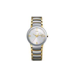 Dames horloge uit de Rado Centrix collection - uitgevoerd in staal met geel PVD - De Rado collectie is verkrijgbaar bij Sparnaaij Juweliers in Aalsmeer