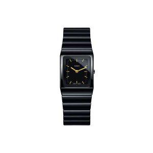 Heren horloge uit de Rado Ceramica collection - uitgevoerd in zwart keramiek met een zwarte wijzerplaat met streep index - De Rado collectie is verkrijgbaar bij Sparnaaij juweliers in Aalsmeer