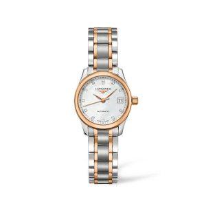 Dames horloge met briljant uit de Longines Master collection - Uitgevoerd in bicolour met een parelmoer wijzerplaat - De Longines collectie is verkrijgbaar bij Sparnaaij Juweliers in Aalsmeer
