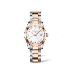 Dames horloge met briljant uit de Longines Conquest Classic collection - uitgevoerd met een bicolour kast en band en een parelmoer wijzerplaat - De Longines collectie is verkrijgbaar bij Sparnaaij Juweliers in Aalsmeer