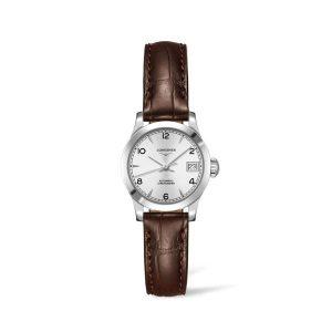 Dames horloge uit de Longines Record collection - uitgevoerd met lederen band en automatisch uurwerk - De Longines collectie is verkrijgbaar bij Sparnaaij Juweliers in Aalsmeer