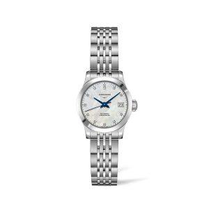 Dames horloge met briljant van de Longines Record collection - uitgevoerd met een stalen band en een parelmoer wijzerplaat - De Longines collectie is verkrijgbaar bij Sparnaaij Juweliers in Aalsmeer