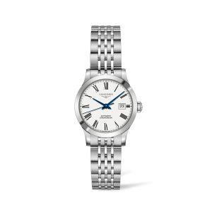 Dames horloge uit de Longines Record collection - uitgevoerd met stalen band en automatisch uurwerk - De Longines collectie is verkrijgbaar bij Sparnaaij Juweliers in Aalsmeer