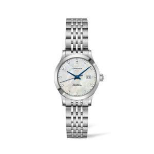 Dames horloge met briljant uit de Longines Record collection - uitgevoerd met stalen kast en band en een Parelmoer wijzerplaat - De Longines collectie is verkrijgbaar bij Sparnaaij Juweliers in Aalsmeer