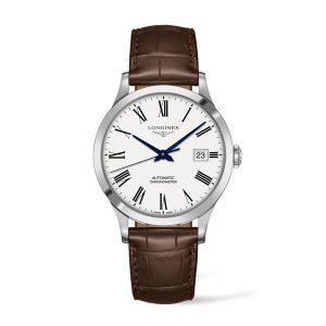 heren horloge uit de Longines Record collection - uitgevoerd met lederen band, stalen kast en automatisch uurwerk - De Longines collectie is verkrijgbaar bij Sparnaaij Juweliers in Aalsmeer