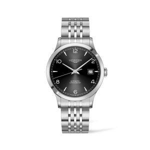Heren horloge uit de Longines Record collection - uitgevoerd met stalen band, zwarte wijzerplaat en automatisch uurwerk - De Longines collectie is verkrijgbaar bij Sparnaaij Juweliers in Aalsmeer