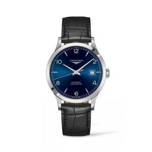 Heren horloge uit de Longines Record collection - uitgevoerd met bruin lederen band en blauwe wijzerplaat - De Longines collectie is verkrijgbaar bij Sparnaaij Juweliers in Aalsmeer