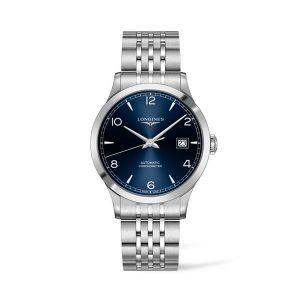 Heren horloge uit de Longines Record collection - uitgevoerd met stalen band, blauwe wijzerplaat en automatisch uurwerk - De Longines collectie is verkrijgbaar bij Sparnaaij Juweliers in Aalsmeer