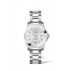 Damer horloge uit de Longines Conquest collection - uitgevoerd met zilverkleurige wijzerplaat, stalen kast en band - waterdicht tot 300 meter - De Longines collectie is verkrijgbaar bij Sparnaaij Juweliers in Aalsmeer