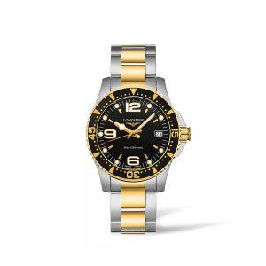 Dames horloge uit de Longines HydroConquest collection - Uitgevoerd met bicolour ban en kast en een zwarte wijzerplaat - De Longines collectie is verkrijgbaar bij Sparnaaij Juweliers in Aalsmeer
