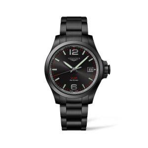 Heren horloge uit de Longines Conquest V.H.P. collection - uitgevoerd met een black PVD band en kast en een zwarte wijzerplaat - De Longines collectie is verkrijgbaar bij Sparnaaij Juweliers in Aalsmeer