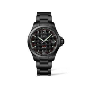 Heren horloge van Black PVD uit de Longines Conquest V.H.P. collection - uitgevoerd in zwart PVD met een carbon wijzerplaat -De Longines collectie is verkrijgbaar bij Sparnaaij Juweliers in Aalsmeer