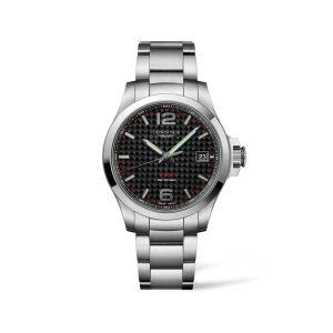 Heren horloge uit de Longines Conquest V.H.P collection -uitgevoerd met stalen band en een carbon wijzerplaat - De Longines collectie is verkrijgbaar bij Sparnaaij Juweliers in Aalsmeer