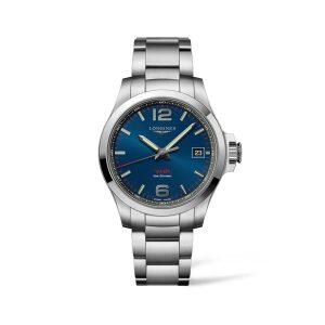 Heren horloge uit de Longines Conquest V.H.P, collection - uitgevoerd met stalen band en blauwe wijzerplaat - De Longines collectie is verkrijgbaar bij Sparnaaij Juweliers in Aalsmeer