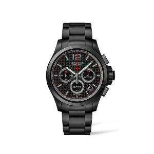 Heren horloge uit de Longines Conquest V.H.P. collection - uitgevoerd in zwart PVD met zwarte Carbon wijzerplaat en chronograph - De longines collectie is verkrijgbaar bij Sparnaaij Juweliers in Aalsmeer