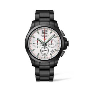 Heren horloge uit de Longines Conquest V.H.P. collection - uitgevoerd met Zwart PVD band en witte wijzerplaat - De longines collectie is verkrijgbaar bij Sparnaaij Juweliers in Aalsmeer