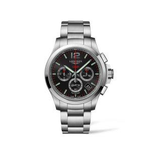 Heren horloge uit de Longines Conquets V.H.P. collection - uitgevoerd met een stalen band en zwarte wijzerplaat - De Longines collectie is verkrijgbaar bij Sparnaaij juweliers in Aalsmeer