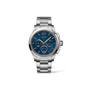 Heren horloge uit de Longines Conquest V.H.P. - uitgevoerd met stalen band en kast en een blauwe wijzerplaat - De Longines collectie is verkrijgbaar bij Sparnaaij Juweliers in Aalsmeer