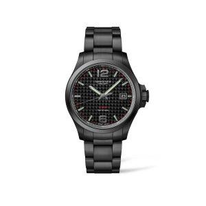 Heren horloge uit de Longines Conquest V.H.P. collection - uitgevoerd met een Black PVD kast en band en een Black Carbon wijzerplaat. - De Longines collectie is verkrijgbaar bij Sparnaaij Juweliers in Aalsmeer