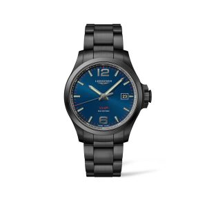 Heren horloge uit de Longines Conquest V.H.P. collection - uitevoerd in Zwart PVD met een blauwe wijzerplaat - De longines collectie is verkrijgbaar bij Sparnaaij Juweliers in Aalsmeer