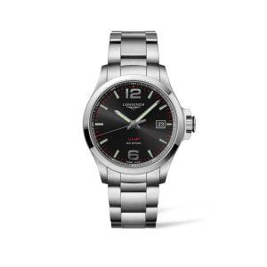 Heren horloge van de Longines Conquest V.H.P. collection - uitgevoerd met stalen band en zwarte wijzerplaat - De Longines collectie is verkrijgbaar bij Sparnaaij Juweliers in Aalsmeer