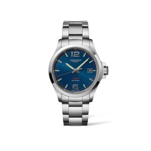 Heren horloge uit de Longines Conquest V.H.P. collection - uitegevoerd met stalen band en blauwe wijzerplaat - De Longines collectie is verkrijgbaar bij Sparnaaij Juweliers in Aalsmeer
