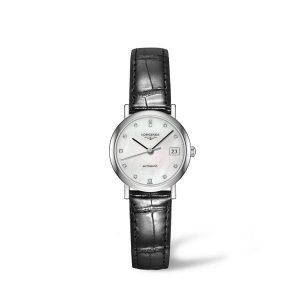 Dames horloge uit de Longines Elegant collection - uitgevoerd met lederen band en parelmoer wijzerplaat - De Longines collectie is verkrijgbaar bij Sparnaaij Juweliers in Aalsmeer