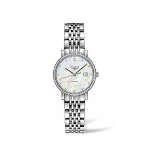 Dames horloge met briljant uit de Longines Elegant collection - uitgevoerd met stalen band en parelmoer wijzerplaat - De Longines collectie is verkrijgbaar bij Sparnaaij Juweliers in Aalsmeer