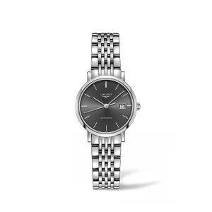 Dames horloge uit de Longines Elegant collection - uitgevoerd met stalen band, grijze wijzerplaat en automatisch uurwerk - De Longines collectie is verkrijgbaar bij Sparnaaij Juweliers in aalsmeer