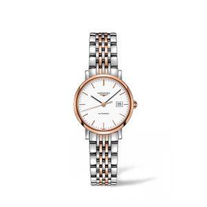Dames horloge uit de Longines Elegant collection - uitgevoerd met een bicolour kast en band en een automatisch uurwerk - De Longines collectie is verkrijgbaar bij Sparnaaij Juweliers in Aalsmeer