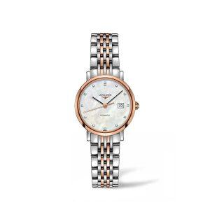 Dames horloge met briljant uit de Longines Elegant collection - uitgevoerd met bicolour band, parelmoer wijzerplaat en automatisch uurwerk - De Longines collectie is verkrijgbaar bij Sparnaaij Juweliers in Aalsmeer