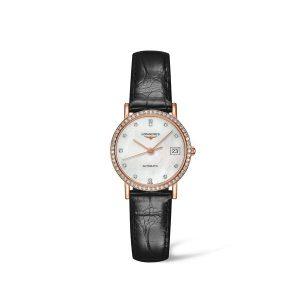 Dames horloge uit de Longines Elgant Collection - uitgevoerd in goud met lederen band en automatisch uurwerk - De Longines collectie is verkrijgbaar bij Sparnaaij Juweliers in Aalsmeer