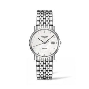 Dames horloge uit de Longines Elegant collection - uitgevoerd met stalen band, parelmoer wijzerplaat en automatisch uurwerk - De Longines collectie is verkrijgbaar bij Sparnaaij Juweliers in Aalsmeer