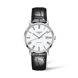 Heren horloge uit de Longines Elegant collection - uitgevoerd met stalen kast en lederen band - De Longines collectie is verkrijgbaar bij Sparnaaij Juweliers in Aalsmeer