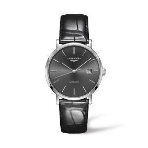 Heren horloge uit de Longines Elegant collection - uitgevoerd met lederen band, grijze wijzerplaat en automatisch uurwerk - De Longines collectie is verkrijgbaar bij Sparnaaij Juweliers in Aalsmeer.
