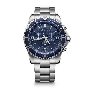Heren horloge uit de Victorinox Maverick collection - uitgevoerd met stalen kast en band en een blauwe wijzerplaat met blauwe lunette - voorzien van een quartz uurwerk met chronograph functie - waterdicht tot 100 meter - De Victorinox collectie is verkrijgbaar bij Sparnaaij Juweliers in Aalsmeer