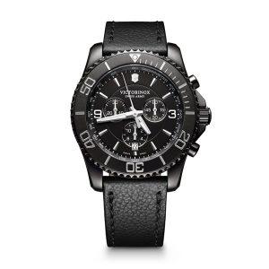 Heren horloge uit de Victorinox Maverick collection - uitgevoerd in Black PVD met een lederen band en een zwarte wijzerplaat - voorzien van een quartz uurwerk met chronograph functie - de Victorinox collectie is verkrijgbaar bij Sparnaaij Juweliers in Aalsmeer