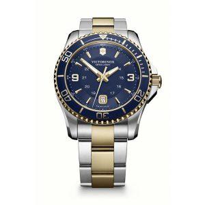 Heren horloge uit de Victorinox Maverick collection - uitgevoerd met een bicolour band en een blauwe wijzerplaat en lunette - voorzien van een quartz uurwerk, saffier glas en waterdicht tot 100 meter - De Victorinox collectie is verkrijgbaar bij Sparnaaij Juweliers in Aalsmeer