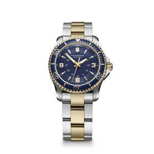 Dames Horloge uit de Victorinox Maverick collection - uitgevoerd met een bicolour band en een blauwe wijzerplaat en lunette - voorzien van een quartz uurwerk - De Victorinox collection is verkrijgbaar bij Sparnaaij Juweliers in Aalsmeer
