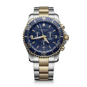 Heren horloge uit de Victorinox Maverick collection - uitgevoerd met een bicolour band en een blauwe wijzerplaat en lunette - voorzien van een quartz uurwerk met chronograph functie - waterdicht tot 100 meter - De Victorinox collectie is verkrijgbaar bij Sparnaaij Juweliers in Aalsmeer