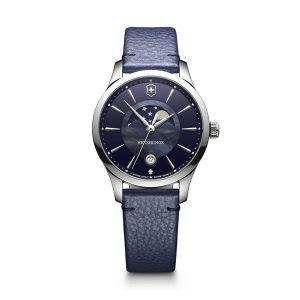 Dames horloge uit de Victorinox Alliance Small serie - uitgevoerd met een stalen kast en een blauw lederen band en een blauwe wijzerplaat - voorzien van een quartz uurwerk met maan phase - De Victorinox collectie is verkrijgbaar bij Sparnaaij Juweliers in Alsmeer