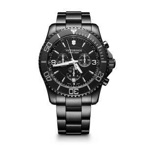 Heren horloge uit de Victorinox Maverick collection - uitgevoerd in black pvd - voorzien van een quartz uurwerk, chronograph en waterdicht tot 100 meter - De Victorinox collectie is verkrijgbaar bij Sparnaaij Juweliers in Aalsmeer