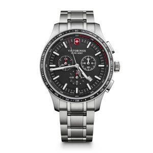 Heren horloge uit de Victorinox Alliance Sport collection - uitgevoerd met een stalen band en kast en een zwarte wijzerplaat en lunette - voorzien van een quartz uurwerk met chronograph functie - De Victorinox collectie is verkrijgbaar bij Sparnaaij Juweliers in Aalsmeer
