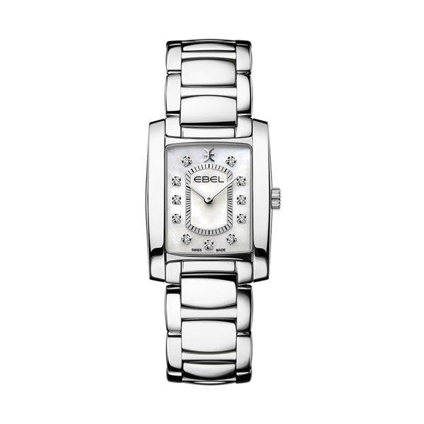 Dames horloge uit de Ebel Brasilia collection - uitgevoerd met stalen kast en band - voorzien van een quartz uurwerk en een parelmoer wijzerplaat bezet met diamant - De Ebel Collectie is verkrijgbaar bij Sparnaaij Juweliers in Aalsmeer