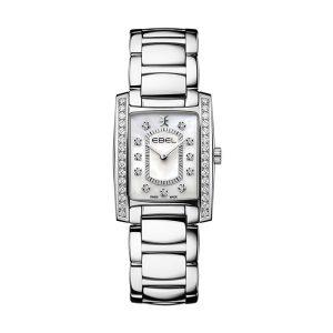 Dames horloge uit de Ebel Brasilia Collection - uitgevoerd met stalen band en kast - voorzien van een quartz uurwerk en gezet met diamant op de wijzerplaat en de lunette - parelmoer wijzerplaat - De Ebel collectie is verkrijgbaar bij Sparnaaij Juweliers in Aalsmeer