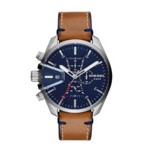 Diesel horloge voorzien van leren band en blauwe wijzerplaat Diesel horloges verkopen wij in ons filiaal in Hoofddorp