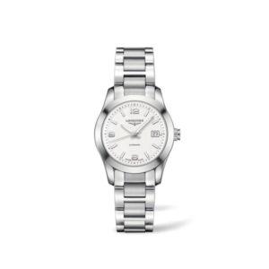 Dames horloge uit de Longines Conquest Classic collection - uitgevoerd met een stalen kast en band - voorzien van een automatisch uurwerk en een zilver kleurige wijzerplaat - waterdicht tot 50 meter - De Longines collectie is verkrijgbaar bij Sparnaaij Juweliers in Aalsmeer