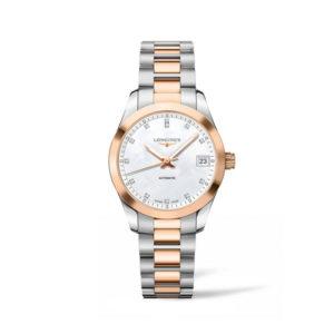 Dames horloge uit de Longines Conquest Classic collection - uitgevoerd met een bicolour kast en band en een parelmoer wijzerplaat met diamant op de index - voorzien van een automatisch uurwerk - waterdicht tot 50 meter - De Longines collectie is verkrijgbaar bij Sparnaaij Juweliers in Aalsmeer